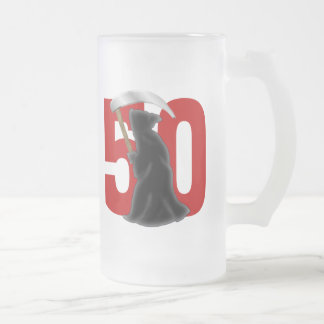50th Birthday Funny Grim Reaper Frosted Glass Beer Mug