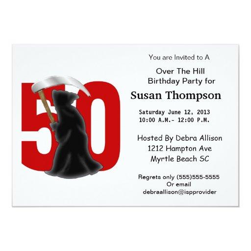 50th Birthday Funny Grim Reaper 5x7 Paper Invitation Card