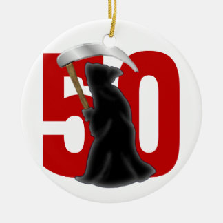 50th Birthday Funny Grim Reaper Double-Sided Ceramic Round Christmas Ornament