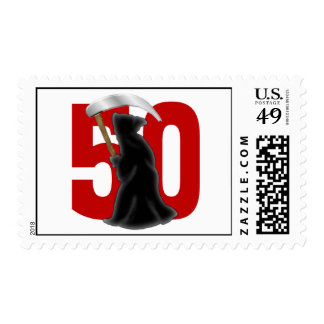 50th Birthday Funny Grim Reaper Postage