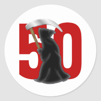 50th Birthday Funny Grim Reaper Stickers