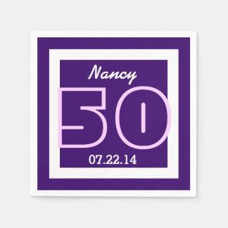 50th Birthday Geometric V24 ROYAL PURPLE Napkin