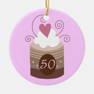 50th Birthday Gift Ideas For Her Double-Sided Ceramic Round Christmas Ornament