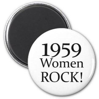 50th Birthday Gifts, 1959 Women Rock! 2 Inch Round Magnet