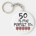 50th birthday gifts, 50 is 5 perfect 10s! basic round button keychain