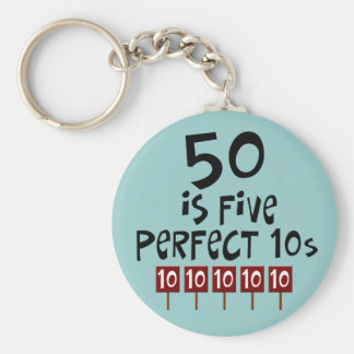50th birthday gifts, 50 is 5 perfect 10s! keychain