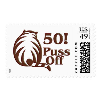 50th Birthday Gifts, 50 Puss Off! Stamp