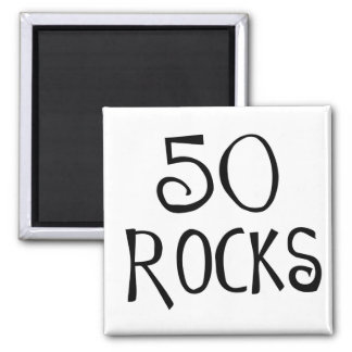 50th birthday gifts, 50 ROCKS 2 Inch Square Magnet