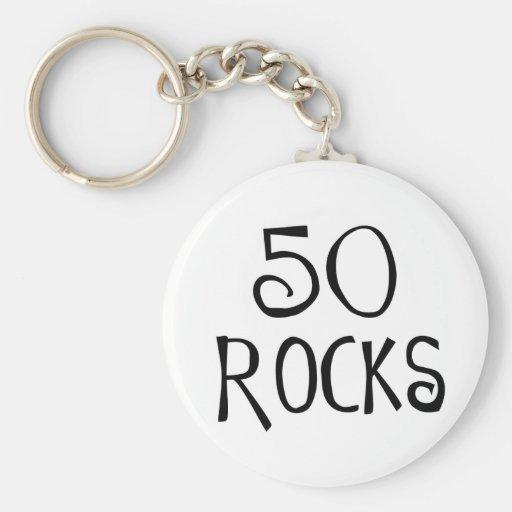 50th birthday gifts, 50 ROCKS Basic Round Button Keychain