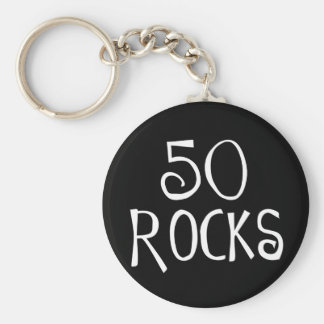 50th birthday gifts, 50 ROCKS Keychain
