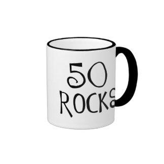50th birthday gifts, 50 ROCKS Ringer Coffee Mug