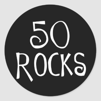 50th birthday gifts 50 ROCKS Round Stickers