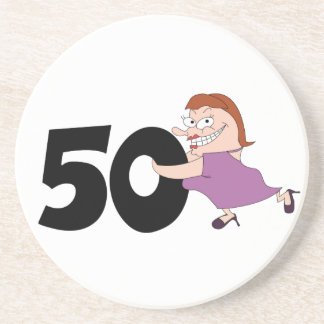 50th birthday gifts - Funny cartoon for her Drink Coaster
