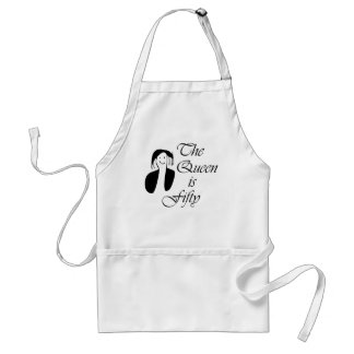 50th birthday gifts, The Queen is 50 - portrait Adult Apron