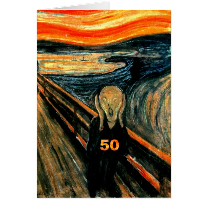 50th Birthday Gifts, The Scream 50! Card