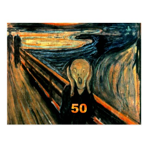 50th Birthday Gifts, The Scream 50! Postcard