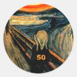 50th Birthday Gifts, The Scream 50! Round Sticker
