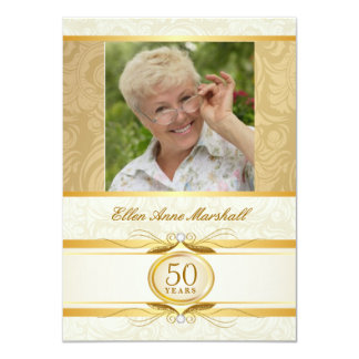 "50th Birthday - Gold Damask Photo Invitation 4.5"" X 6.25"" Invitation Card"