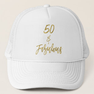 50th Birthday Gold Foil And White Trucker Hat