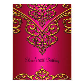 50th Birthday Gold Overlay on Rich Pink 4.25x5.5 Paper Invitation Card