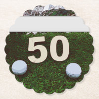 50th Birthday Golfer with golf ball on green Paper Coaster