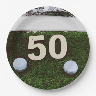 50th Birthday Golfer with golf ball on green Paper Plate