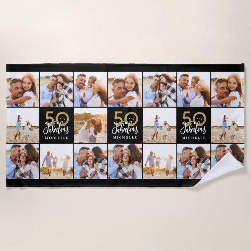 50th birthday good gold black photo collage chic b beach towel