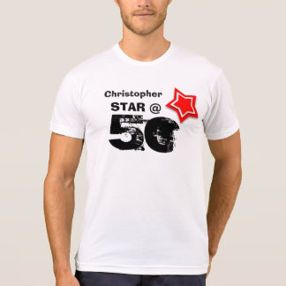 50th Birthday Grunge Text Layered RED Star A002 T-Shirt