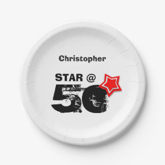 50th Birthday Grunge Text Layered RED Star A012 Paper Plate