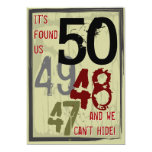 50th Birthday Grungy Countdown Couples Party Custom Announcement