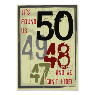 "50th Birthday Grungy Countdown Couples Party 5"" X 7"" Invitation Card"