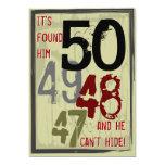 "50th Birthday Grungy Countdown Party Invitation 5"" X 7"" Invitation Card"