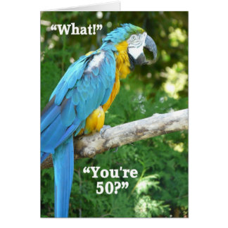 50th Birthday Humor-Blue Parrot Card