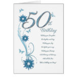 50th birthday in teal with flowers and butterfly greeting card