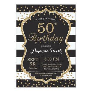 Black and gold 50th birthday invitations zazzle 50th birthday invitation black and gold glitter invitation filmwisefo