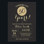 """50th Birthday Invitation Black and Gold Glitter<br><div class=""""desc"""">50th Birthday Invitation Black and Gold Glitter Card. For further customization,  please click the """"Customize it"""" button and use our design tool to modify this template.</div>"""
