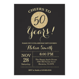 Gold and black 50th birthday invitations announcements zazzle 50th birthday invitation black and gold glitter filmwisefo Images