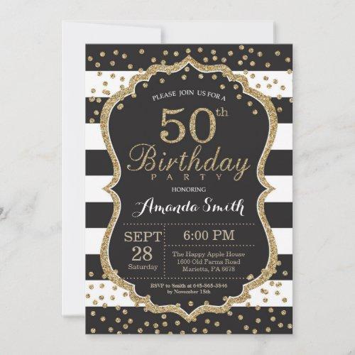 50th Birthday Invitation Black and Gold Glitter Invitation