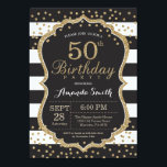 """50th Birthday Invitation. Black and Gold Glitter Invitation<br><div class=""""desc"""">50th Birthday Invitation for women or man. Black and Gold Birthday Party Invite. Gold Glitter Confetti. Black and White Stripes. Printable Digital. For further customization,  please click the """"Customize it"""" button and use our design tool to modify this template.</div>"""