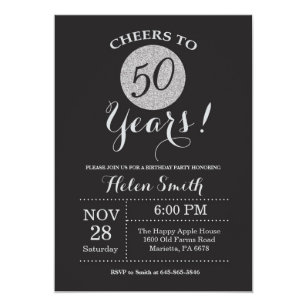 50th Birthday Invitation Black And Silver Glitter