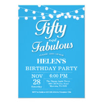 50th Birthday Invitation Blue Fabulous