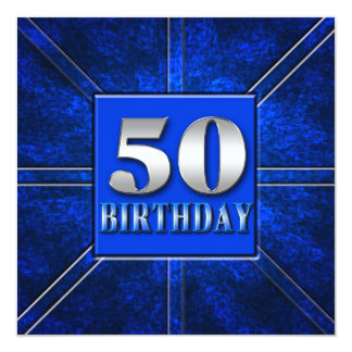 50th Birthday Invitation - Blue/Silver