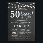 "50th Birthday Invitation Chalkboard<br><div class=""desc"">50th Birthday Invitation Chalkboard Background with String Lights. Black and White. 13th 15th 16th 18th 20th 21st 30th 40th 50th 60th 70th 80th 90th 100th, Any age. Adult Birthday. Woman or Man Male Birthday Party. For further customization, please click the ""Customize it"" button and use our design tool to modify...</div>"