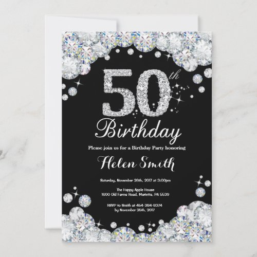 50th Birthday Invitation Chalkboard Silver Diamond