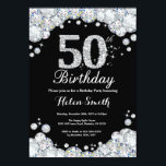 "50th Birthday Invitation Chalkboard Silver Diamond<br><div class=""desc"">50th Birthday Invitation. Silver Rhinestone Diamond Chalkboard Background. Elegant Birthday Bash invite. Black and White. Adult Birthday. Women Birthday. Men Birthday. For further customization,  please click the ""Customize it"" button and use our design tool to modify this template.</div>"