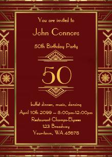 50th Birthday Invitation Man Gatsby Style