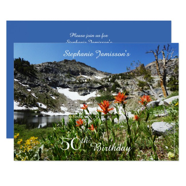 50th Birthday Invitation, Mountains, Wildflowers