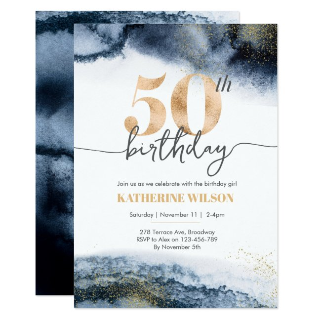 50th birthday invitation Navy watercolor and gold