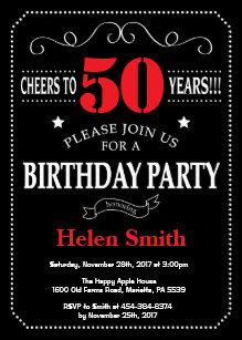 50th Birthday Invitation Red And Black Chalkboard