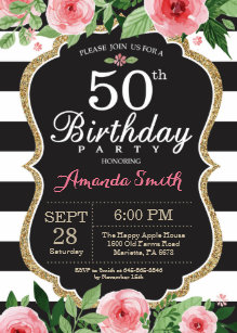 50th Birthday Invitation Women Floral Gold Black